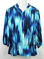 CHICO'S Blue and White Top Tunic Button Blouse Sz 3 Large 3/4 Sleeve V-Neck GUC
