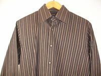 Hugo Boss Men's Long Sleeve Brown Striped Shirt Size 16 32/33