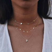 Fashion Bohemia Multilayer Choker Pendant Necklace Star Moon Chain Women Jewelry