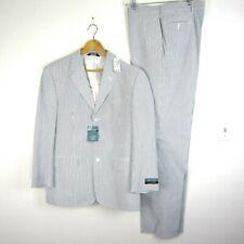 NEW Jos A Bank Stays Cool 42R Blue Striped Seersucker Suit 36 x Unhemmed Pants