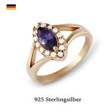 Ovale Echtschmuck-Ringe im Solitär mit Akzentsetzung-Stil aus Sterlingsilber für Damen