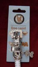 Silver Designer Rhinestone Dog Collar Pet London Adjustable Small Size w/ Charm