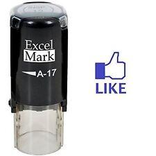 NEW ExcelMark FACEBOOK LIKE Round Self Inking Teacher Stamp A17   Blue Ink