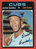 1971 Topps #525 Ernie Banks GOOD+ CREASE HOF Chicago Cubs FREE SHIPPING