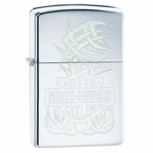 Zippo x Harley-Davidson Lighter Logo & Accents Engraved High Polish Brass