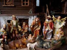 Krippenfiguren Set aus Polyresin, handbemalt, Holznachbildung, 11 Tlg, 15 cm