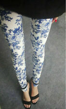 Delft Print blue pretty floral amazingly soft high rise stretchy leggings.
