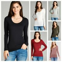 WOMENS STRETCH COTTON ROUND CREW NECK LONG SLEEVE FITTED T SHIRT TOP S-3X