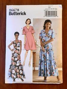 BUTTERICK PATTERN - 6678 LADIES DRESS EMPIRE WAIST TIER SKIRT FLARED 14-22 UNCUT