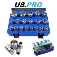 """US PRO 19 Piece 1/2"""" Dr Gear Lock Sockets 8 - 32mm - 3221"""
