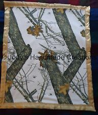 HANDMADE BABY FLEECE SECURITY BLANKET - WHITE MOSSY OAK CAMO / GREY 30 X 55