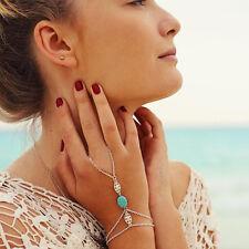 Bohemia Retro Silver Multi Chain Tassel Bracelet Slave Finger Ring Hand Harness