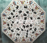White Marble Dining Table Top Elephant Marquetry Inlay Art Furniture Decor H3200