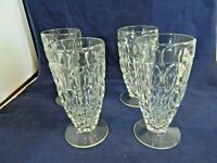 "JEANETTE THUMBPRINT ICE TEA WATER FOOTED GLASS SET OF 4, APPROX.6"" TALL,VINTAGE"
