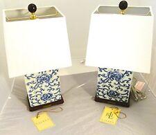Ralph Lauren Mandarin Blue White Traditional Porcelain Ceramic Table Lamps Set 2