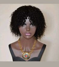 10A grade short Brazilian kinky curly human hair bob wig without Lace Closure