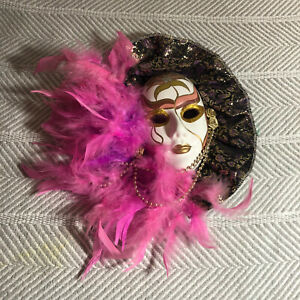Pink Black And Gold Feathered Ruffled Ceramic Decorative Venetian Style Mask 9in