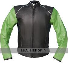 Men Black Biker Motorcycle Leather Jacket w/ Green Sleeves & Free CE Armors