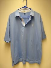 Peter Millar summer Cotton Polo Golf Shirt Light Blue Size Large L Free Shipping