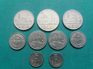 ROMANIA NICE COINS SET - 1, 3 LEI, 25,15,5 BANI. TOTAL 9 COINS.