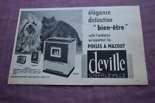 Ancienne publicité de presse - 1962 - POELES A MAZOUT DEVILLE CHARLEVILLE
