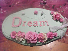 "Handmade wall plaque - green/pink - Roses - ""Dream"""