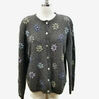 Karen Scott Womens L Pure 100% Wool Floral Knit Cardigan Sweater Gray Australia