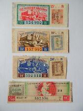 4 tickets de loterie nationale les gueules cassées 1942 série B