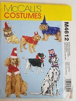 McCall's M4612 Sewing Pattern Dog Costumes New Uncut 2004
