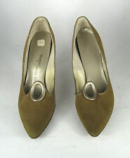 Jacqueline Sz 9 Narrow Pumps Brown Yellow Leather Shoes Vtg Heels Women Pointed