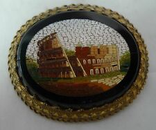 Antiguo Dorado Metal y Micro Mosaico Colloseum Broche af 5.1cm X 4.4cm 22.4g A60201