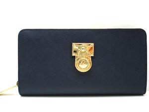 Authentic NWT MICHAEL KORS Hamilton Traveler Lg Zip Around Saffiano Leather Navy