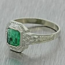 1930s Antique Art Deco Estate 14k Solid White Gold .75ct Emerald Engraved Ring