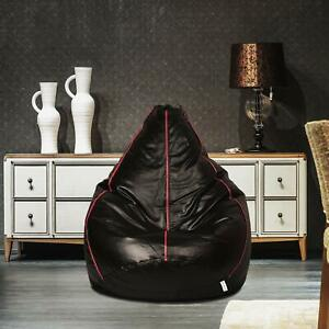 Handmade Bean bag Cover Leather Chair without Beans Black for Living room gift