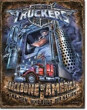 Truckers The Backbone Of America Tin Sign Truck Stop Shop Wall Poster Decor