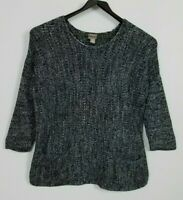 Chico's Women's 2 Large 3/4 Sleeve Black & White Marled Ribbed Knit Sweater