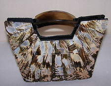 "Vintage 9"" Designer MOD Purse Mother of Pearl, Brown Lucite Handles Evening Bag"