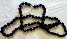 """Negro Vintage 28"""" Collar de Abalorios de Cristal Facetado-Aleta Tipo"""