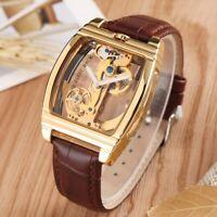 SHENHUA Steel Case Men's Skeleton Automatic Mechanical Watch Leather Band Reloj