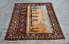 5 x 5'11 Handmade vintage afghan tribal baluchi pictorial rug, Very unique rug