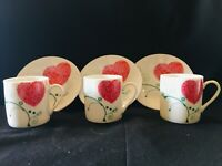 SET OF 3 INTRIGUE PORCELAIN DEMITASSE ESPRESSO COFFEE AND TEA CUPS AND SAUCERS