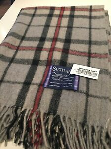 Tweeds Scotland 100% Wool Knee Blanket Thomson Grey Tartan Check Limited Throw