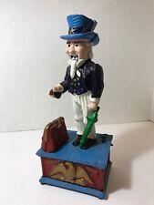 Vintage Uncle Sam Cast Iron Mechanical Coin Money Bank, Reproduction