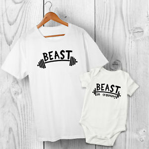 Beast & Beast in Training - Dad / Father & Son / Daughter Tshirt & Baby Grow Set