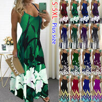 Womens Summer V-Neck Print Cami Dress Ladies Holiday Beach Maxi Dress Plus