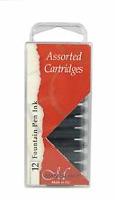 12 MANUSCRIPT INK CARTRIDGES ASSORTED COLOURS FOUNTAIN PEN RED BLACK BLUE 461AS