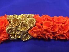 Flowers 4 Hair Malai Saram Garland Bollywood Indian Bridal Kajra Orange Gold