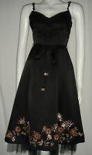 delicate Karen Millen black silk fans and roses beaded dress with tie belt 8