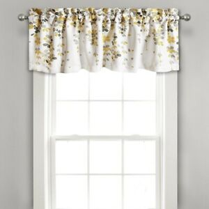 Weeping Flowers Yellow and Gray Valance Curtain for Windows, Yellow & Gray