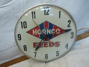 Vintage Hornco Feeds Agricultural Advertising Wall Clock Sign York PA